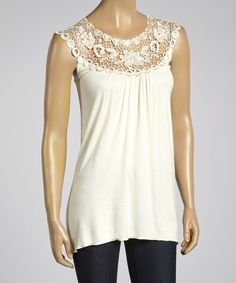 Take a look at the Ivory Lace Yoke Top on #zulily today!
