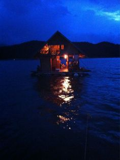 floating house by night