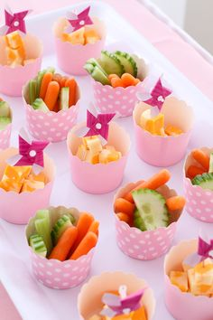 Using cupcake cups, put carrots and tomatoes and cheese etc for kids