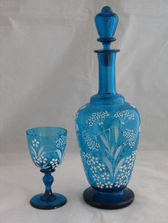 ANTIQUE MOSER BLUE GLASS ENAMELED FLOWERS DECANTER GOBLET SET SIGNED