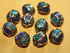 Nepalese Tibetan turquoise beads Lapis Beads 10 by goldenlines