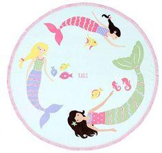 Pottery Barn Kids Swimming Mermaids Round Beach Towel, Multi