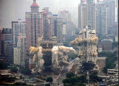 controlled explosions, Chongqing, China