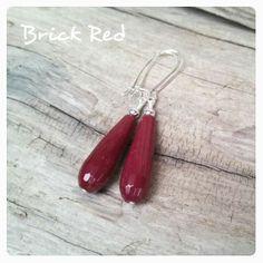 Jade Teardrop Earrings Dark Brick Red More Colors to Choose From!