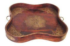 Brass/Wood Serpentine Tray   20×20x3h   ML9635