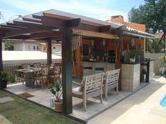churrasqueiras modernas - Pesquisa Google Outdoor Spaces, Outdoor Living, Outdoor Decor, Bali Huts, Garden Solutions, Spanish Style Homes, Garden Bar, Tropical Houses, Backyard Landscaping
