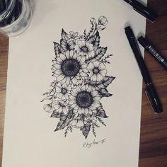 39 Impressive Black And White Sunflower Tattoo Ideas - Awesome 39 Bee . - 39 Impressive Black and White Sunflower Tattoo Ideas – Awesome 39 Impressive Black and White Sunf - Wolf Tattoos, Cute Tattoos, Beautiful Tattoos, Black Tattoos, Body Art Tattoos, Tattoo Drawings, New Tattoos, Hand Tattoos, Small Tattoos