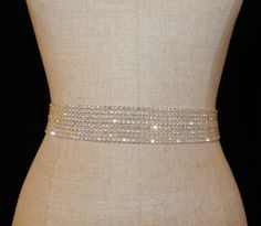 "Swarovski Rhinestone Crystal and Lux Satin Bridal Sash ""The Maggie 2"""