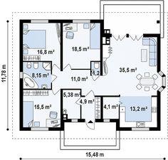 Проект одноэтажного дома с эркером многоскатной кровлей, и камином на террасе - Z10
