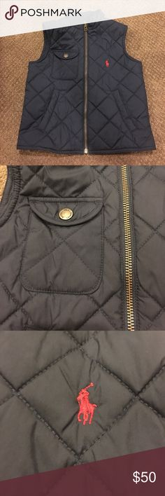Polo Boys Navy Quilted Vest Navy diamond Quilted. Zip up with three pockets. Made of polyester. Worn a few times. Pet & smoke free home. Polo by Ralph Lauren Jackets & Coats Vests