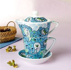 Tea for One Teapot Set with Cup Saucer Blue Flower New Bone China Porcelain | eBay