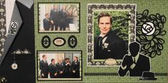 Wedding Scrapbook Page - The Groom and Groomsmen  or Ushers - 2 page masculine wedding layout with a tuxedo, pocket watch, boutonniere and a man - from Wedding Album 4