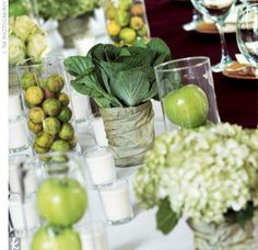 Centerpieces for wedding in a backyard with green apples | Sort of DIY Centerpieces | Weddingbee