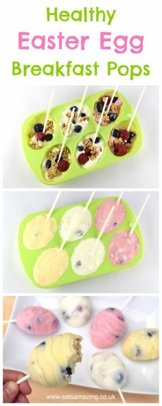 Fun and healthy Easter Breakfast Pops recipe - cute and delicious alternative to chocolate treats for kids this Easter Breakfast Snacks, Cake Pops, Pudding, Parenting, Desserts, Food, Cereal, Tailgate Desserts, Cake Pop