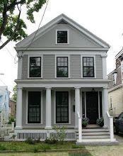 House: Benjamin Moore Greystone  Trim: Benjamin Moore Silver Chain  anurbancottage.bl...