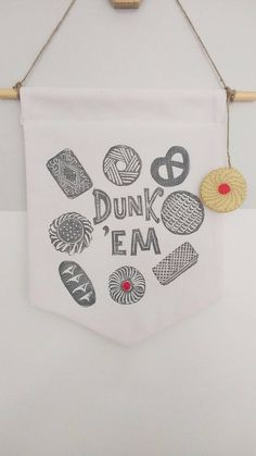 Biscuit Wall Banner Pennant Flag Fabric Wall Hanging Lino