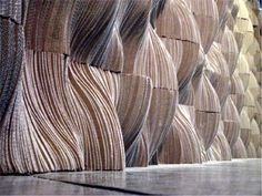 Sculpted cardboard wallcovering. From Splace and designer Tung Chiang, a modular wall sculpture with anechoic (sound-absorbing) qualities.