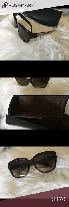 Used FENDI sunglasses Used FENDI sunglasses with logo across the sides in gold. These designer sunglasses will make you feel a little extra luxurious.  If you have any questions about this item feel free to ask me.  I have other items listed in my closet. If you're interested in this, you might be interested in something else I have up. Check it out. :) Happy shopping! Fendi Accessories Sunglasses
