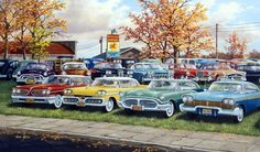Another great Ken Zylla classic car print. This old used car lot has Plymouth's, Chevy's, and lots others from the 50's.
