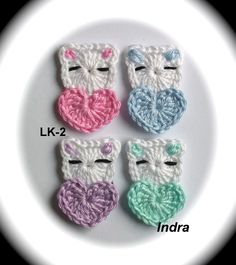 Crochet Applique Patterns Free, Crochet Bookmark Pattern, Crochet Cat Pattern, Crochet Bookmarks, Crochet Animal Patterns, Stuffed Animal Patterns, Cute Crochet, Baby Knitting Patterns, Crochet Motif