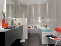 badgestaltungsideen fliesen fap ceramiche hochglanz hell grau badewanne