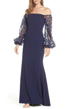 6db7ca2bbec06 Eliza J Off the Shoulder 3D Floral Sleeve Scuba Crepe Evening Dress |  Nordstrom
