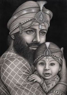 The Artwork of Sikh Guru Gobind Singh Ji with his first born son Baba Ajeet Singh Ji. Guru Nanak Ji, Nanak Dev Ji, Kundalini Yoga, Pranayama, Sikh Quotes, Gurbani Quotes, Punjabi Quotes, Hindi Quotes, Guru Nanak Wallpaper