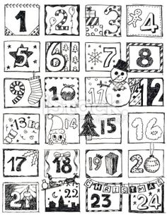 Advent Calendar Doodle Royalty Free Stock Vector Art Illustration