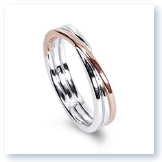 Mark Silverstein Imagines 18K White and Rose Gold Polished Three Loop Mens Wedding Band. #MSImagines #MarkSilversteinImagines