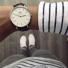 Summer stripes and a classy timepiece makes for a lovely summer look! Get it at www.rokoko.co.nz