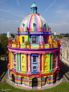 "I'm seeing this one pinned as ""Rainbow Church"" -- not rainbow, and not a church! This building is ""Radcliffe Camera"" part of the Oxford University libraries and this particular entry won the 5th place in the ""Color Blind 15"" contest on Worth1000. Original building is here: http://pinterest.com/pin/175218241724358187/"