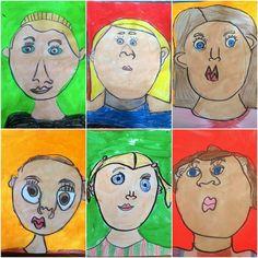 Kindergarten Self Portraits (Exploring Art: Elementary Art) - Bourke Bains Kindergarten Self Portraits, Kindergarten Art Projects, Kindergarten Lessons, Art Lessons Elementary, Drawing For Kids, Art For Kids, Portraits For Kids, Self Portrait Drawing, Drawing Projects