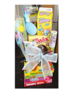 Boys easter basket mixed candy with toys books movie plug frog easter candy tower assorted chocolates jelly beans peeps gummies and licorice delivered las vegas negle Images