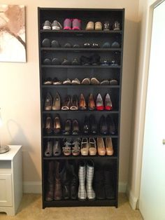 bookshelf shoe rack - Love this idea for our current house, the closet is a bit small. lol