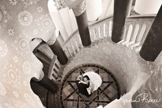 Santa Barbara Courthouse Weddings, Staircase photo with bride and groom, Kristin Renee Photographer http://santabarbaracourthouseweddings.net