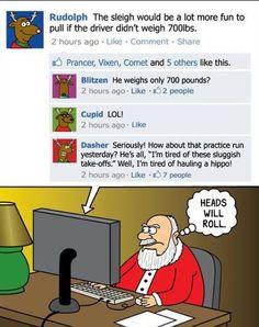 Heads Will Roll Cartoon Christmas Humor Card Metzger Christmas Comics, Christmas Jokes, Funny Christmas Cards, Christmas Cartoons, Christmas Sayings, Xmas Cards, Facebook Humor, For Facebook, Facebook Drama