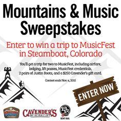 2015 Mountains & Music Sweepstakes