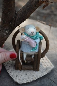Mom and Baby  unique  needle felted ornament by feltingdreams, $88.00