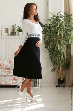 """Купить Платье """"Французский шарм"""" - чёрно-белый, платье плиссе, черное платье, платье на заказ"""
