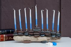 MADE TO ORDER: Lake Superior Cairn Menorah-One of a Kind. $99.99, via Etsy.