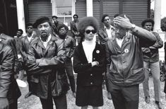Kathleen Neal Cleaver and Bobby Seale with members of The Black Panther Party