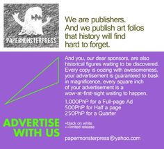 our poster for advertisers and sponsors who keep the small press going. Thanks y'all!