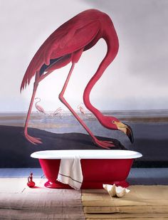 Your guests will remember this strikingly audacious bathroom with its mammoth Audubon flamingo mural, a fun backdrop for the red enamel claw-foot tub. Bathroom Mural, Audubon Prints, Interior And Exterior, Interior Design, Interior Wallpaper, Wall Murals, Wall Art, Foto Art, Wall Treatments