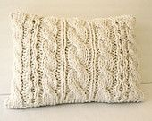 PICK your COLOR Hand Knit Chunky Throw Pillow Bulky yarn  18 x 12 Cozy Irish Cable knit soft Wool Yarn Insert included