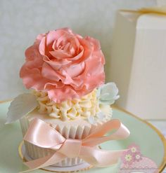 Peachy Pink Ruffled Flower Cupcake