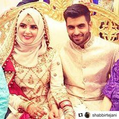Mrs.mahumhashim  Mr.shabbirtejani Muslimah Wedding Dress, Muslim Wedding Dresses, Hijab Bride, Muslim Brides, Pakistani Bridal Makeup, Pakistani Bridal Dresses, Bridal Lehenga, Beautiful Hijab, Beautiful Bride