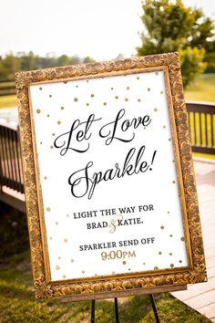 PRINTABLE - Sparkler Send off Sign, Let love sparkle sign, Gold Wedding Decor, Black & Gold Party Decor, Large Custom Wedding Sign, Art Deco