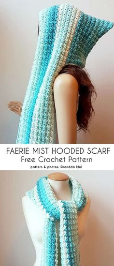 This is an interesting combination of a hood and a scarf, a much better idea than your usual modified balaclava. The Faerie Mist Hooded Scarf ties like a real Crochet Fingerless Gloves Free Pattern, Crochet Hooded Cowl, Hooded Scarf Pattern, Crochet Hooded Scarf, Crochet Hoodie, Crochet Gloves, Crochet Scarves, Crochet Headbands, Free Crochet