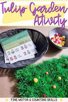 Reinforce fine motor and counting skills with this fun, engaging and hands-on spring-themed activity. Use them for kindergarten centers, morning tubs or morning work. Motor Skills Activities, Fine Motor Skills, Tulips Garden, Kindergarten Centers, Morning Work, Tubs, Counting, Gardening, Hands