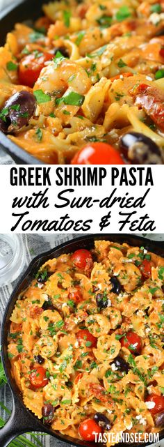 Greek Shrimp Pasta with Sun-dried Tomatoes and Feta… full of yummy shrimp, a sun-dried tomato feta sauce, hearty pasta, and the most delicious Mediterranean flavors!  This dish is packed with tasty ingredients like sun-dried tomatoes, Kalamata olives, feta cheese, minced garlic, pasta and the most tender shrimp.  #shrimp #seafood #SeafoodPasta   https://tasteandsee.com